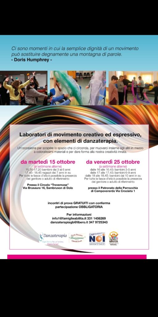 Laboratori di movimento creativo ed espressivo con elementi di danzaterapia